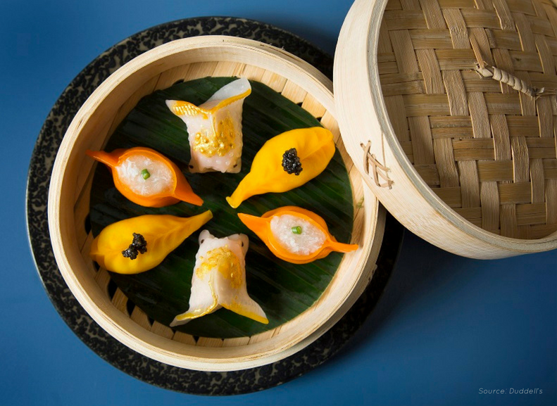 Marvel at Duddell's goldfish dim sum dish